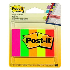 Post-it Page Markers, 1/2-inch x 1-3/4 Inches, Assorted Bright Colors, 250 per Pack (670-5AF)