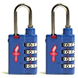 Safe Skies TSA Approved 4 Dial Heavy Duty Combination Luggage Locks Bold Blue - Set of Twoby Safe Skies LLC