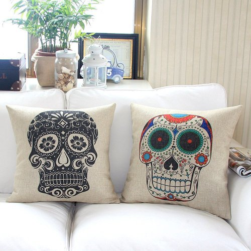 Home Style Cotton Linen Decorative Couple Throw Pillow Cover Cushion Case Couple Pillow Case, Set of 2 (Skulls)