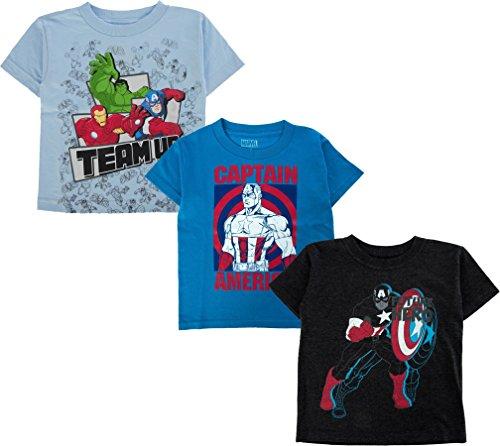 Marvel Boy's 3 Pack Captain America Avengers Superhero Logo T-Shirts Avengers