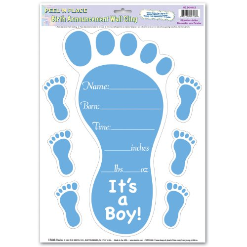 Birth Announcement Peel 'N Place (lt blue; 6 footprints included) Party Accessory  (1 count) (1/Sh)