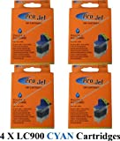 4 X LC900C Cyan Brother Compatible Ink Cartridges for Brother DCP-110C, DCP-115C, DCP-117C, DCP-120C, DCP-310CN, DCP-320CN, FAX 310, FAX 1835C, FAX 1840C, FAX 1940CN, FAX 2440C, MFC-5840CN, MFC-620CN, MFC-210C, MFC-640CW, MFC-215C, MFC-3100, MFC-3240C, M