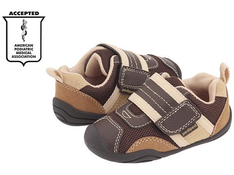 New Pediped Grip N Go Adrian Chocolate Brown Sneakers Toddler Boys Shoes front-87572