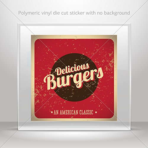 Decals Stickers Delicious Burgers Sign Motorbike Vehicle Weatherproof Garage (6 X 5.98 In)