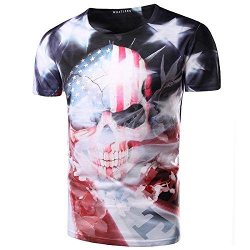 American Flag Mens 3D Skull USA Round Neck US Short Sleeve Shirts 2XL