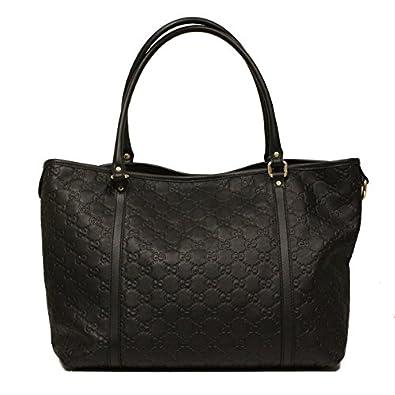 Amazon.com: Gucci Black Guccissima Leather GG Logo Tote