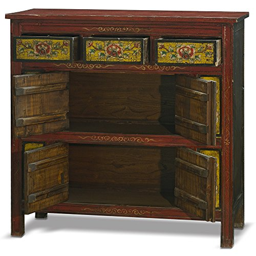 China Furniture Online Elmwood Cabinet, Hand Painted Floral Motif Tibetan Style High Chest Distressed Red and Yellow 1