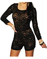 made2envy Lace Nude Illusion Knotted Key-Hole Back Romper