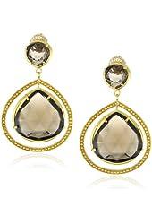"Coralia Leets Jewelry Design ""Riviera"" Double Stone Smokey Quartz Gold Frame Post Earrings"