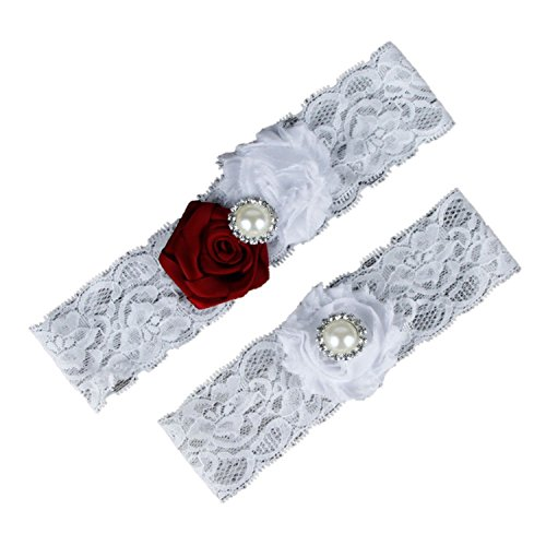 Dorchid Womens Lace Garters Multi Colors with Crystal Burgundy White