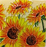 Continental Art Center SD-004 4 by 4-Inch Four Sunflowers Ceramic Art Tile