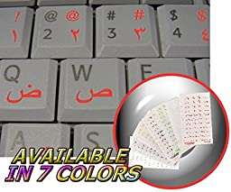 ARABIC KEYBOARD STICKERS WITH RED LETTERING ON TRANSPARENT BACKGROUND