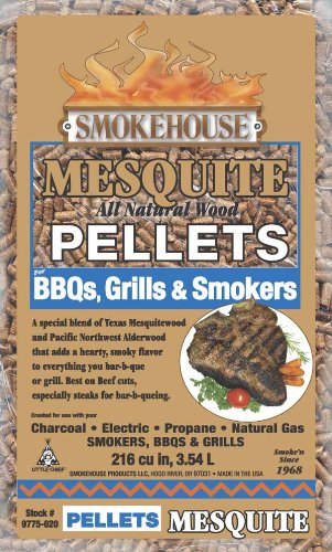 Smokehouse Products 9775-020-0000 5-Pound Bag All Natural Mesquite Flavored Wood Pellets, Bulk