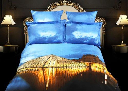Dolce Mela Dm430K Louvre Paris King Duvet Cover Set