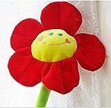 2Pcs Cute Smile Face Sunflower Plush Curtain Clip Clasps Tie Holders