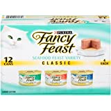 Fancy Feast Wet Cat Food, Classic, Seafood Feast Variety Pack, 3-Ounce Can, Pack of 12  (Pack of 2) ~ Purina Fancy Feast