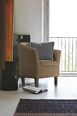 Poltrona Florida rivestita in soft-touch gambe in legno Design - Corda Anticato