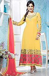 Stunning Sunny Yellow Long Anarkali Semi Stitched Suit Material