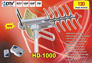 Xtreme HD-1000 360º Rotating HDTV Digital Amplified Outdoor Antenna