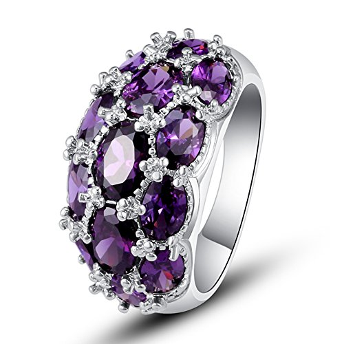 [Psiroy Women's 925 Sterling Silver 7.75cttw Amethyst Filled Ring] (Good Costumes For Two Best Friends)