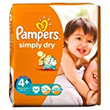 Pampers Simply Dry Nappies Size 4+ Essential Pack 34 per pack Case of 1
