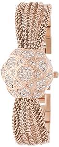 Anne Klein Women's AK/1046RGCV Swarovski Crystal Accented Rose Gold-Tone Covered Dial Mesh Bracelet Watch