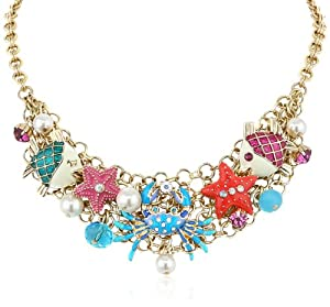 "Betsey Johnson ""Jewels of the Sea"" Crab Multi-Charm Necklace, 20"""
