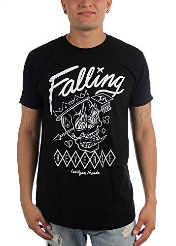 Falling In Reverse-Flame-T-Shirt da uomo, motivo: teschio Nero  nero