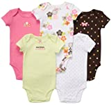 Carters Baby Girls 5-Pack Short Sleeve Bodysuits
