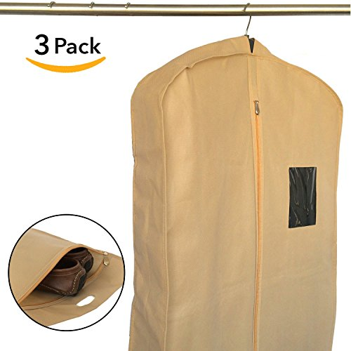 Set of 3 Breathable Garment Bags for Clothes Storage, Travel - Suit Bag Cover for Men by Home Haven (Garment Rack Bag compare prices)