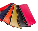 二つ折り 長財布 薄型 メンズ レディース カード ケース 大容量 17枚 収納 財布 レザー (レッド)