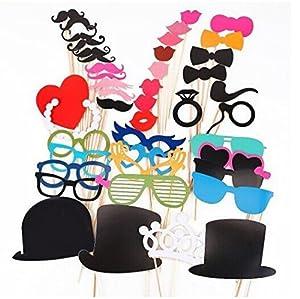 KIMILAR 44pcs masque avec baton pour Masquerade cravate/ couronne/ lunettes/ moustache