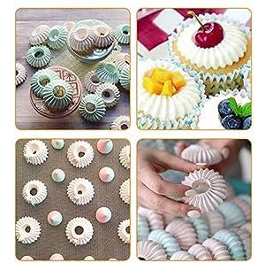 Russian Piping Tips, YUJUE 3 pcs Baking Piping Nozzles Sultan Ring Cookies Mold Kits, 2 Icing Tips + 1 Silicone Pastry Bag (Color: 3pcs silver)