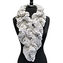 Luxury Divas Ivory & Brown Long Scrunched Ultra Plush Faux Fur Neck Stole Scarf