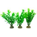 Set of 3 Alfie Lifestyle Aquarium Decor - Aquascaping Plant Ornament - Color: Green, Size: 4