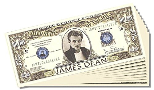 James Dean Million Dollar Bill - 25 Count with Bonus Clear Protector & Christopher Columbus Bill - 1