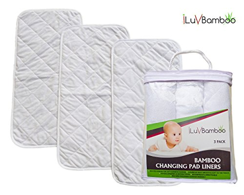 Bamboo Changing Pad Liners-3 Pack XLarge 26″x12.5″. Best for Machine Wash & Dryer. Waterproof, Breathable & Absorbent. Quilted Silky Soft. Antibacterial & Hypoallergenic. For Baby Gifts by iLuvBamboo