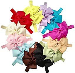 Qandsweet Baby Girl Fishtail Bows Flower Hairbands Hair Accessories (12 Pack 4\