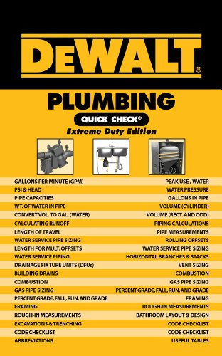 DeWALT Plumbing Quick Check: Extreme Duty Edition - DEWALT - 1111135886 - ISBN:1111135886