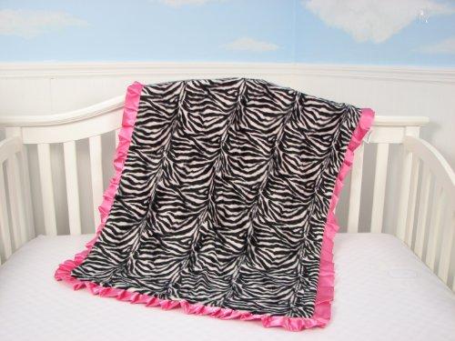 Soho Zebra Blanket With Satin Ruffle (Hot Pink) front-742077