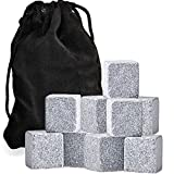 Whiskey Rocks, Pack of 9 Soapstone Sipping Stones, Chilling Cubes, By Chuzy Chef