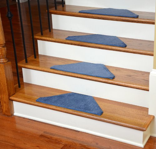 Washable Non-Skid Carpet Stair Treads - Solid Blue Hexagon (13)