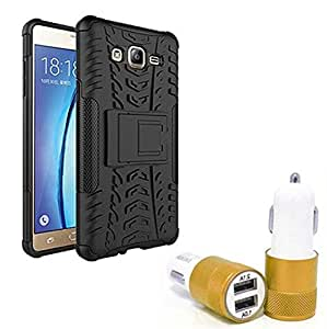 Droit Shock Proof Protective Bumper back case with Flip Kick Stand for Samsung ON7 + Car Charger With 2 Fast Charging USB Ports by Droit Store.