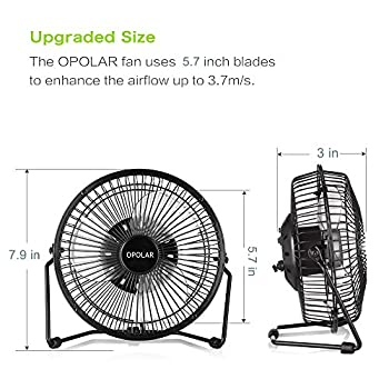 OPOLAR F501 Desktop USB Fan with Upgraded 6 Inch Blades, Enhanced Airflow, Lower Noise, Metal Design, USB Powered, Personal Table Fan, Mini Cooling Fan, Small Desk Fan, Quiet Office Fan - Black