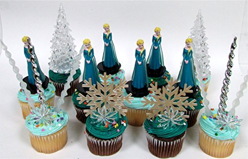 14 Piece FROZEN Elsa Birthday Cupcake Topper Set Featuring Elsa and Decorative Themed Accessories