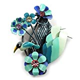 Vintage Bright Blue Metal 'Bird & Flowers' Brooch