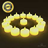 BEST FLAMELESS TEA LIGHTS(24 Pack) - LED Tea Lights Look Authentic, No Drips, No Mess - Battery Tea Lights for Any Occasion:Weddings, Home Decor & Christmas - Best Quality Yellow Flickering Flame Electric Tea Lights - 100% Satisfaction Guarantee - LIFETIME WARRANTY - FREE GIFT WITH EVERY PURCHASE