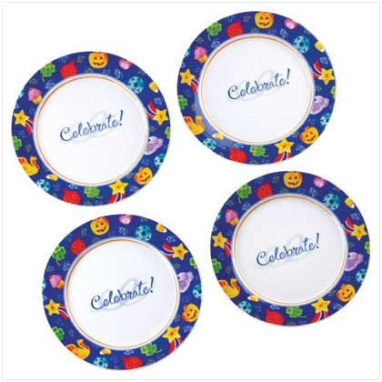 Celebrate Set Of 4 Dessert Party Plates Party Decor