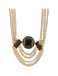 Mask Fashions Gold Metal Necklace With Black Pendant For Women - B00P6J2OI6