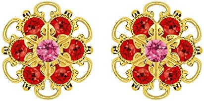 Lucia Costin .925 Silver, Pink, Red Swarovski Crystal Earrings, Gorgeous